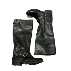 Mossimo Black Tall Combat Moto Riding Boots Size 8